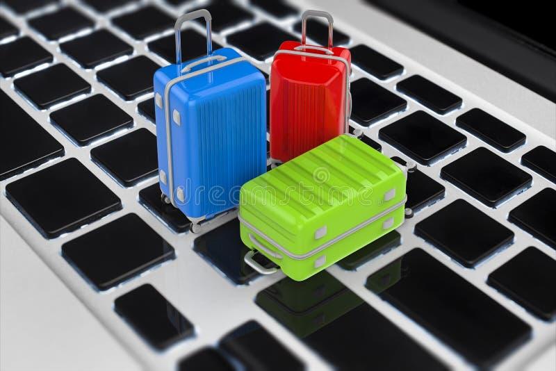 Concepto en línea de la reservación con equipaje del viaje de la representación 3d en keybo ilustración del vector