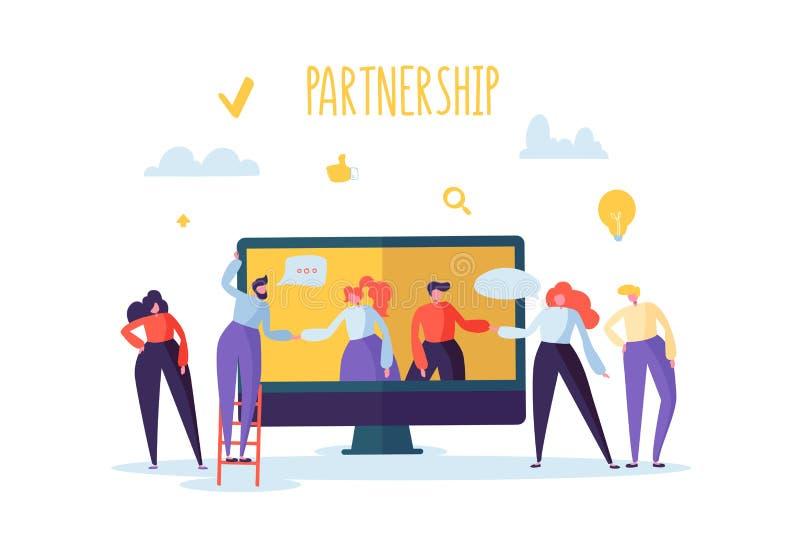 Concepto en línea de la reunión de la sociedad del negocio Apretón de manos plano de los caracteres de la gente Coworking Team Wo libre illustration