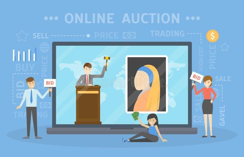 Concepto en línea de la subasta Tomar medidas en la subasta a través del dispositivo stock de ilustración