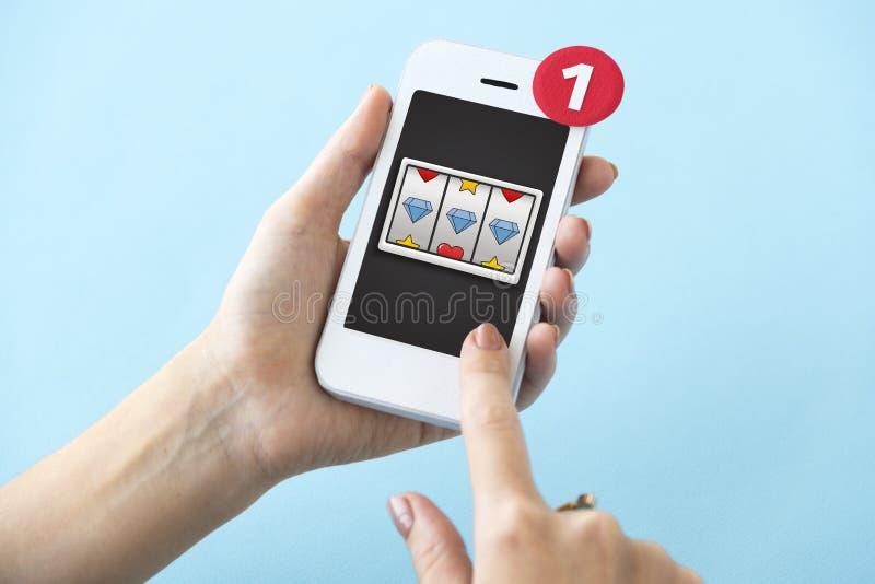 Concepto en línea de la suerte del casino foto de archivo libre de regalías