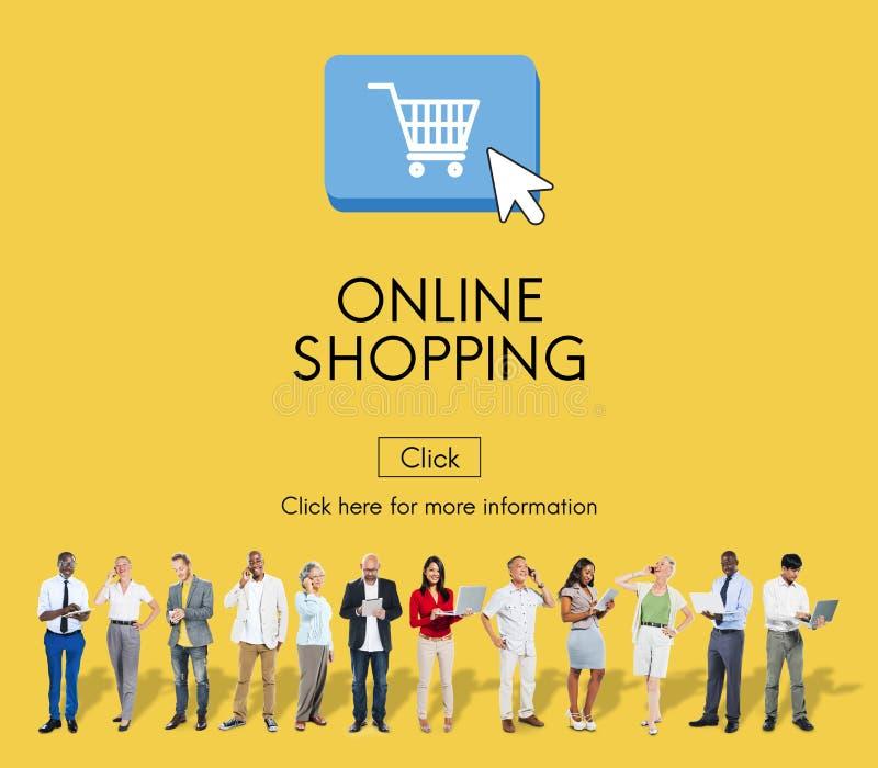 Concepto en línea de la tecnología de Digitaces del comercio electrónico de las compras imagen de archivo libre de regalías