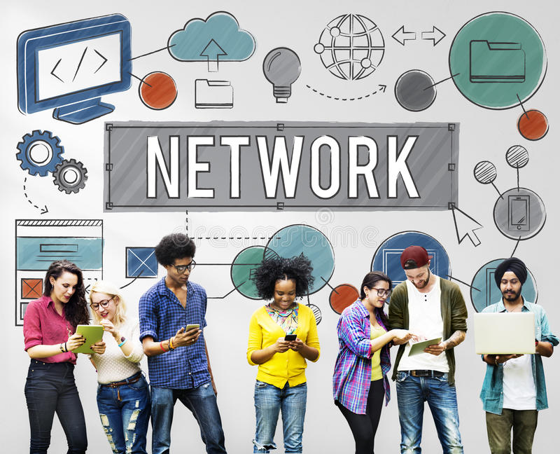 Concepto en línea de la tecnología de Internet de la conexión de red fotografía de archivo