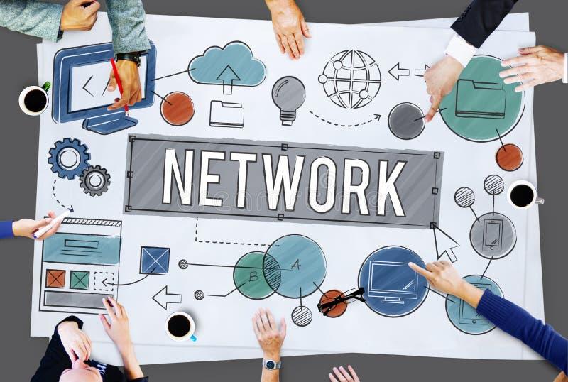 Concepto en línea de la tecnología de Internet de la conexión de red fotos de archivo libres de regalías