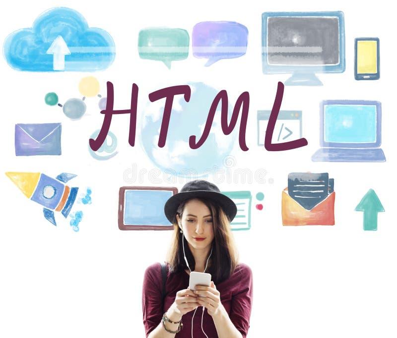 Concepto en línea de la tecnología de Internet del lenguaje de programación del HTML fotografía de archivo