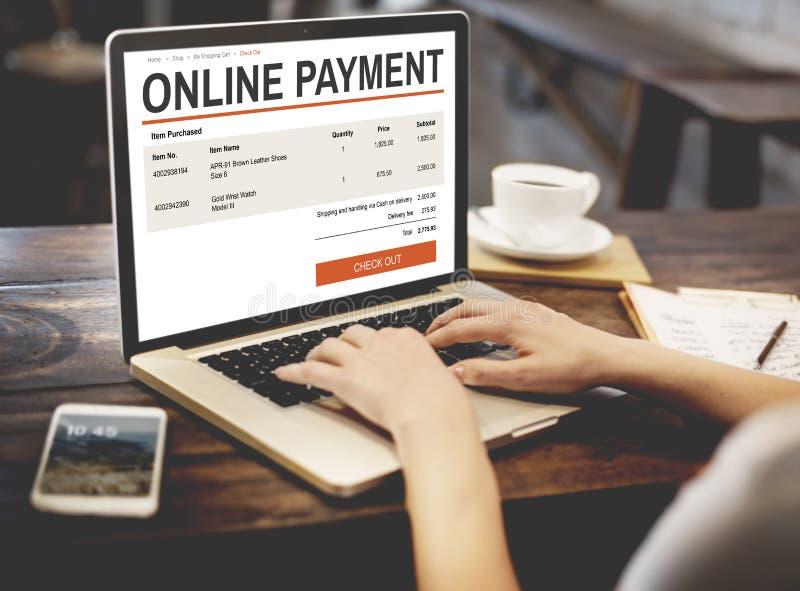 Concepto en línea de la tecnología del sitio web de las compras del comercio electrónico fotos de archivo