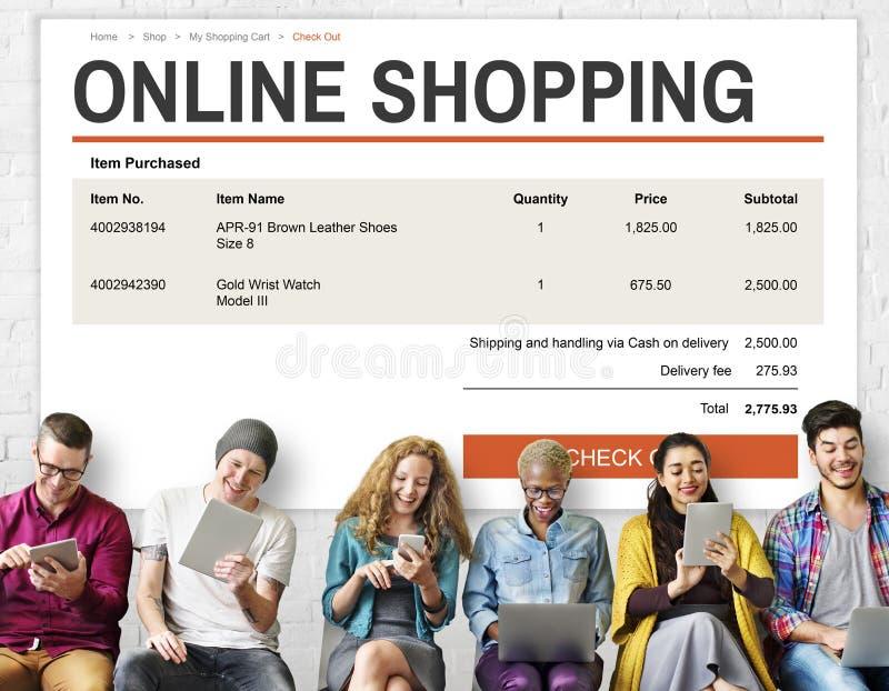 Concepto en línea de la tecnología del sitio web de las compras del comercio electrónico imagenes de archivo