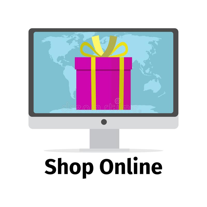 Concepto en línea de la tienda con el presente del rosa ilustración del vector