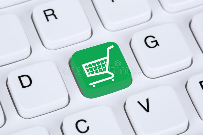 Concepto en línea de la tienda de Internet del comercio electrónico de las compras foto de archivo