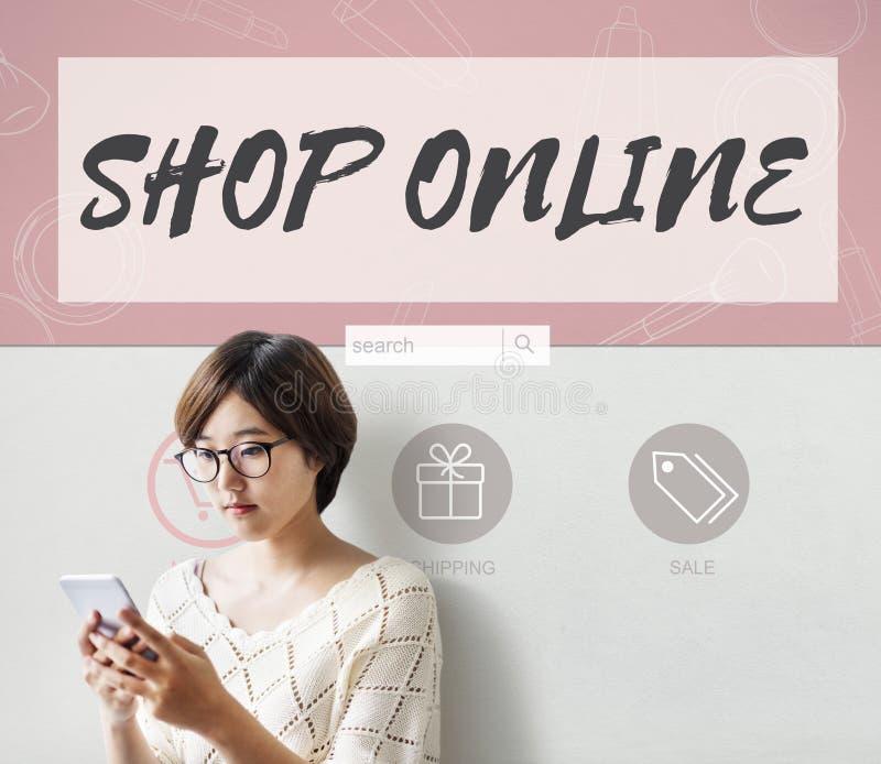 Concepto en línea de la tienda de las compras de Internet de la tienda fotos de archivo