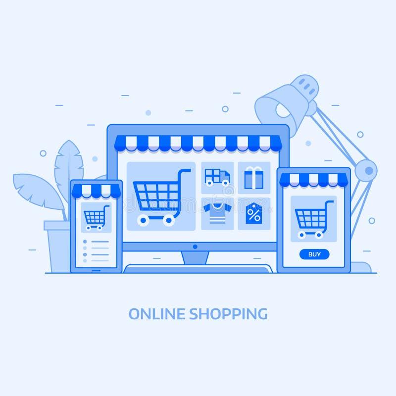 Concepto en línea de la tienda de Digitaces que hace compras libre illustration