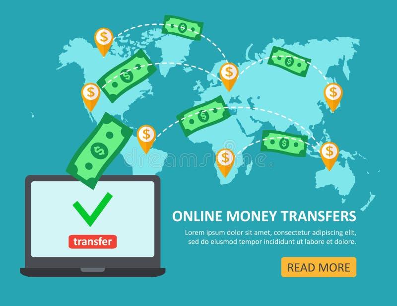 Concepto en línea de la transferencia monetaria con el ordenador portátil con el abov de los billetes de dólar stock de ilustración