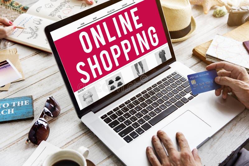 Concepto en línea de la venta de la conexión del consumerismo que hace compras imagen de archivo