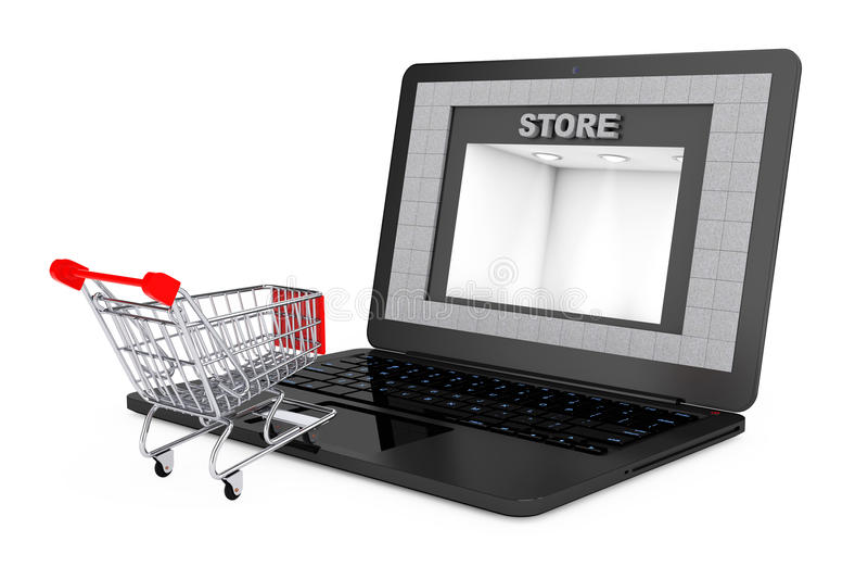 Concepto en línea de las compras Carro de Shoppping sobre el ordenador portátil con la tienda B stock de ilustración