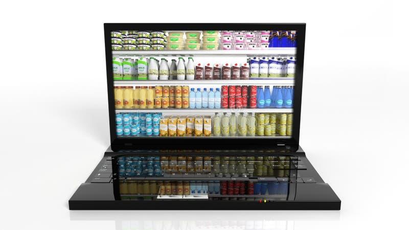 Concepto en línea de las compras con el ordenador portátil libre illustration