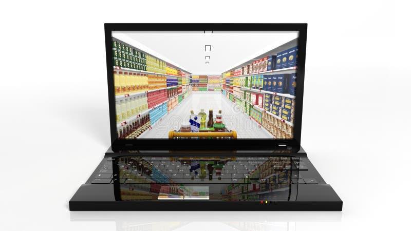 Concepto en línea de las compras con el ordenador portátil ilustración del vector