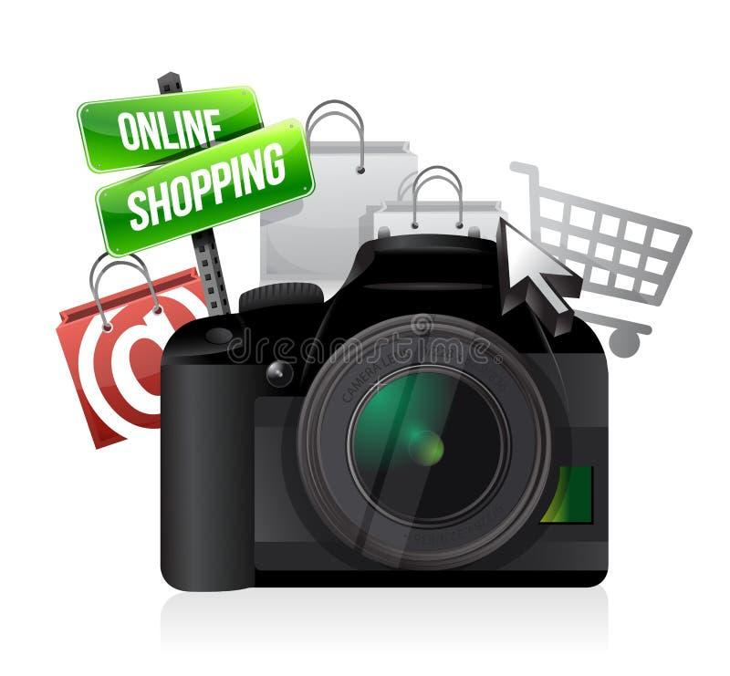 Concepto en línea de las compras de la cámara stock de ilustración