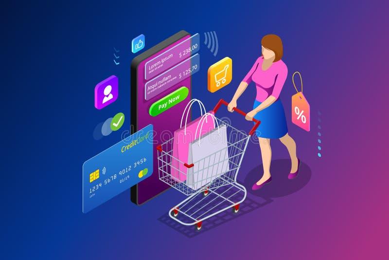 Concepto en línea de las compras del smartphone elegante isométrico Smartphone dio vuelta en tienda de Internet Márketing y e móv libre illustration