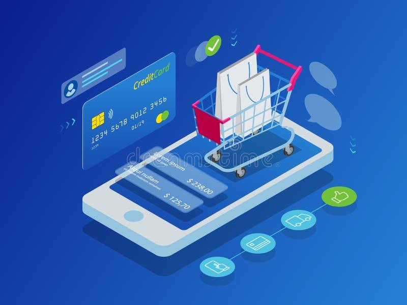 Concepto en línea de las compras del teléfono elegante isométrico stock de ilustración