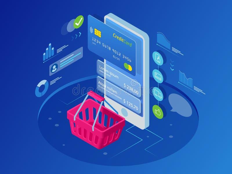 Concepto en línea de las compras del teléfono elegante isométrico ilustración del vector