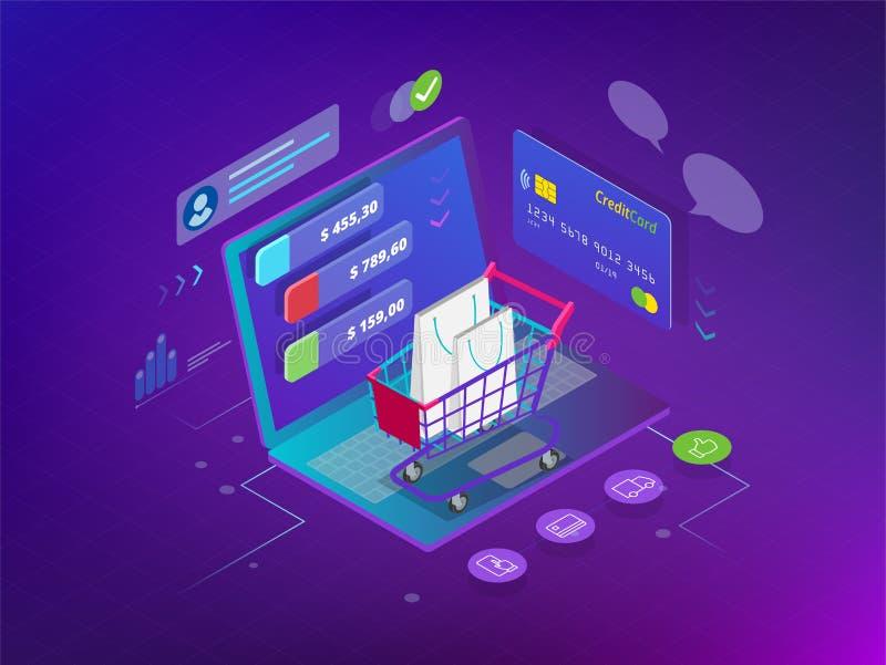 Concepto en línea de las compras del teléfono elegante isométrico Tienda en línea, icono del carro de la compra Comercio electrón ilustración del vector