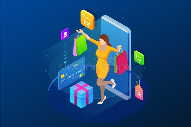 Concepto en línea de las compras del teléfono elegante isométrico Tienda en línea La muchacha feliz hace compras onlan con una ta ilustración del vector