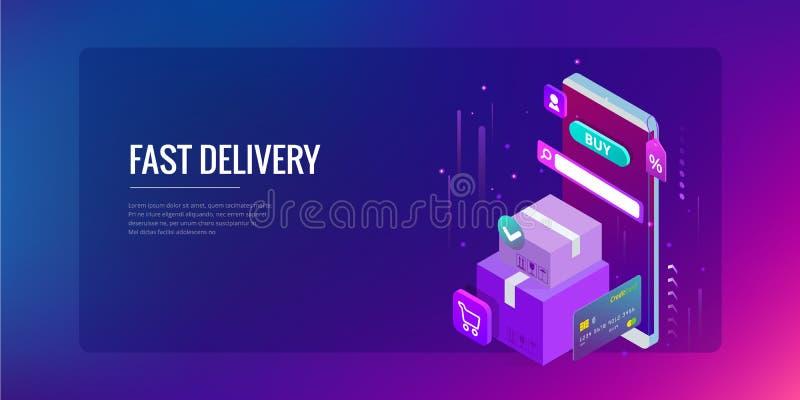 Concepto en línea de las compras del vector isométrico Plantilla de aterrizaje de la página Diseño ultravioleta moderno para una  stock de ilustración