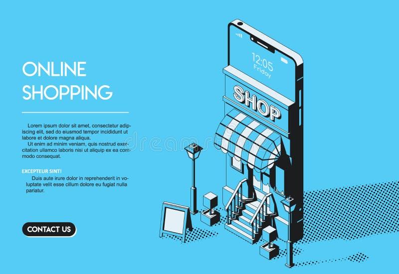 Concepto en línea de las compras Ejemplo isométrico de semitono del vector libre illustration