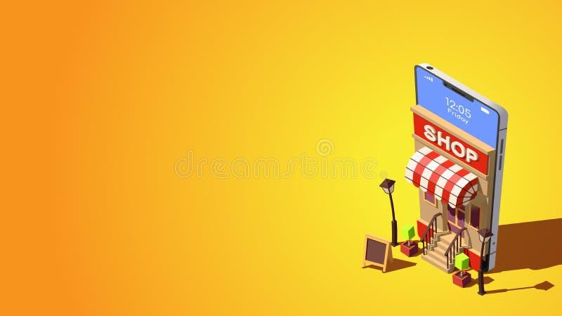 Concepto en línea de las compras Concepto isométrico del vector de márketing o de márketing de Digitaces libre illustration