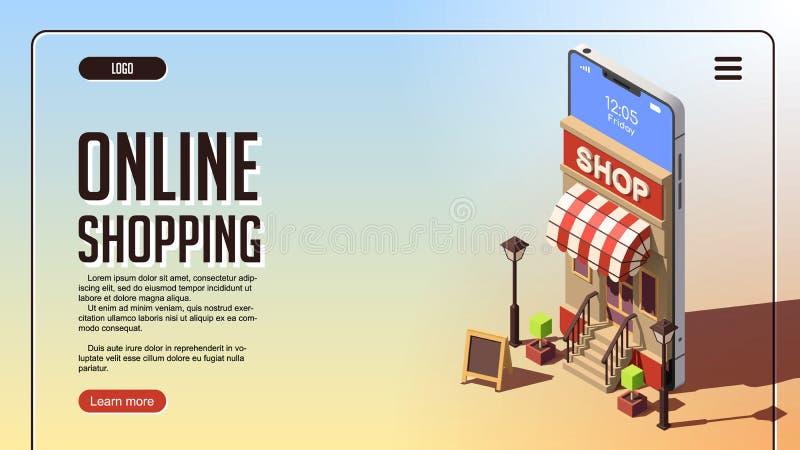 Concepto en línea de las compras Concepto isométrico del vector de márketing o de márketing de Digitaces ilustración del vector