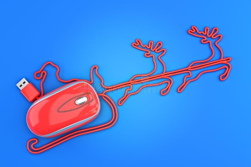 Concepto en línea de las compras de la Navidad Papá Noel, trineo y reno en la forma de un ratón del ordenador ilustración del vector