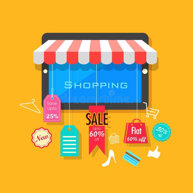 Concepto en línea de las compras y de la venta stock de ilustración
