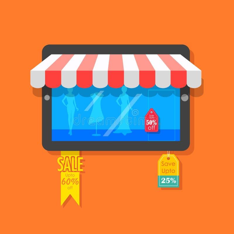 Concepto en línea de las compras y de la venta ilustración del vector