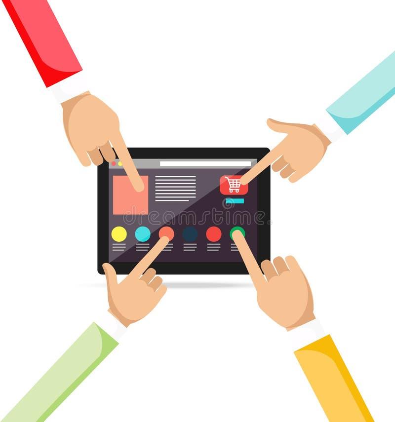 concepto en línea de las compras y del comercio electrónico libre illustration