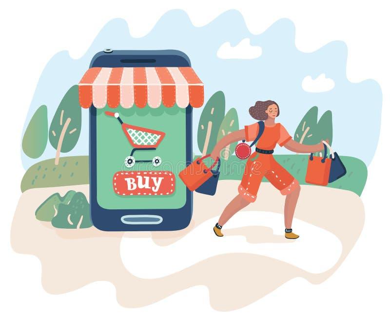 Concepto en línea de las compras y del consumerismo stock de ilustración