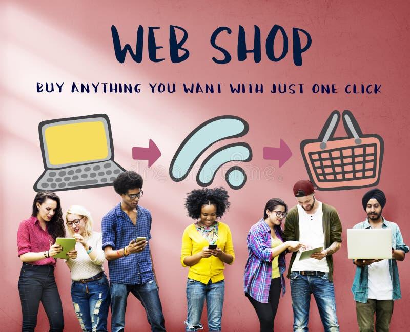 Concepto en línea de las E-compras de la tienda del web de las compras fotos de archivo