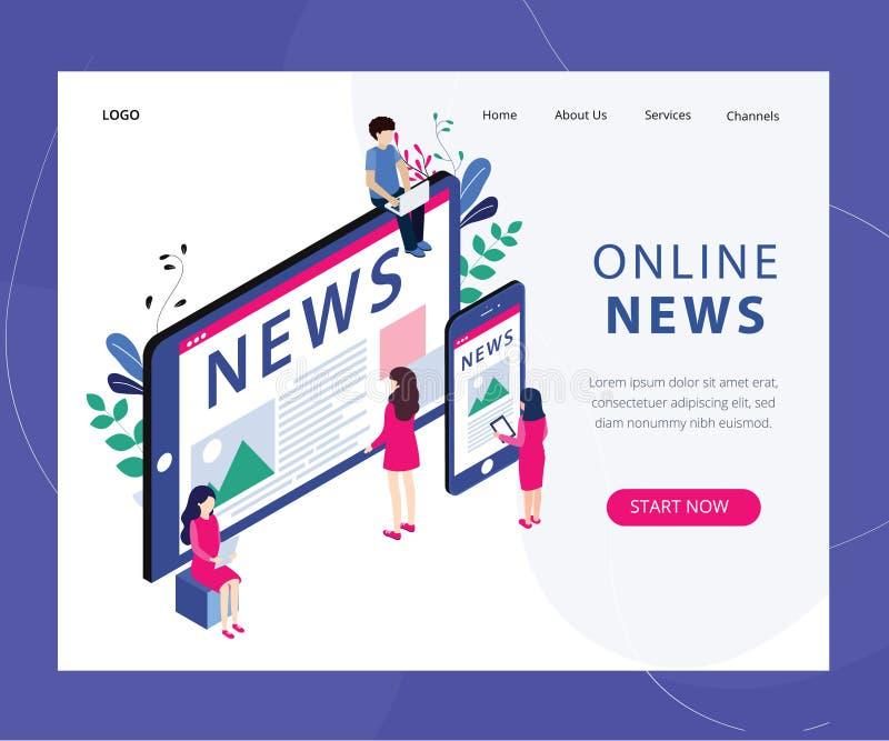 Concepto en línea de las noticias isométrico ilustración del vector