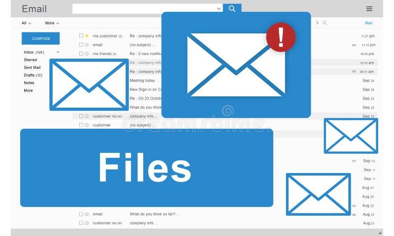 Concepto en línea de los gráficos del correo electrónico del accesorio de los ficheros ilustración del vector