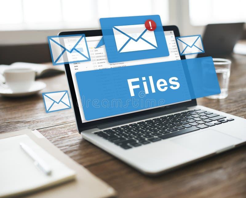 Concepto en línea de los gráficos del correo electrónico del accesorio de los ficheros imagenes de archivo