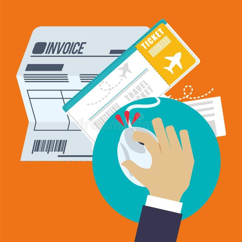 concepto en línea del boleto de la factura del viaje libre illustration