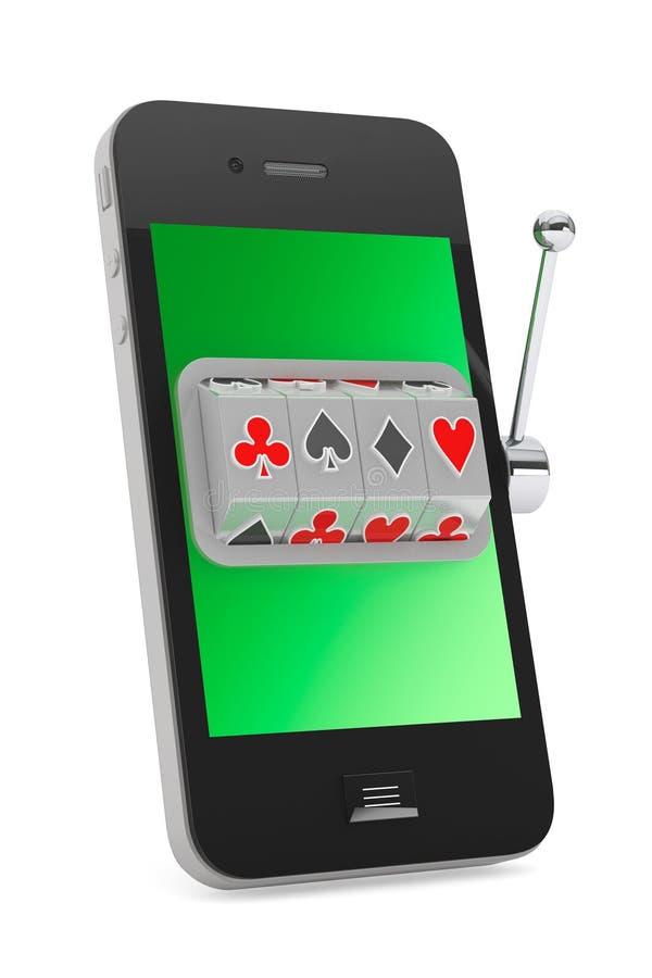 Concepto en línea del casino. Máquina tragaperras dentro del teléfono móvil imagen de archivo