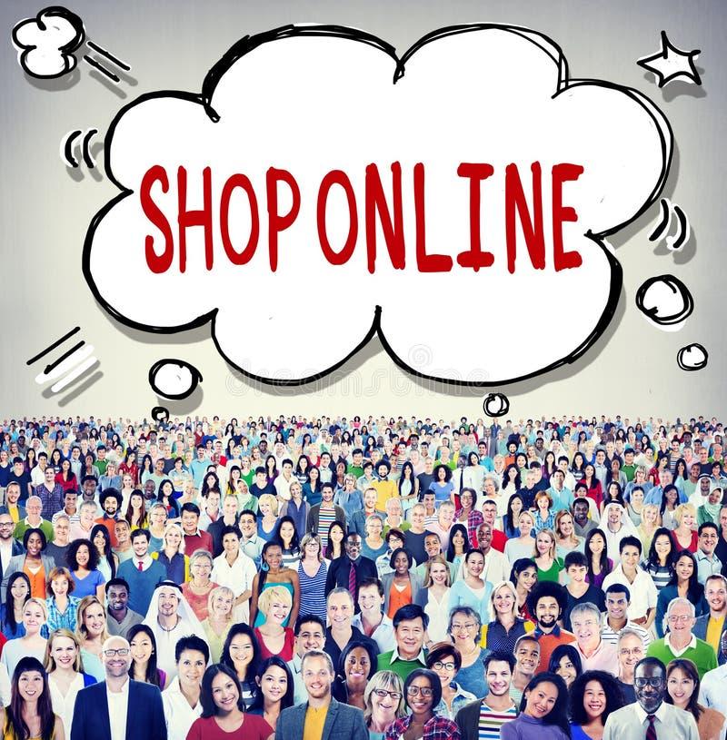 Concepto en línea del cliente de la entrega del consumidor de la tienda stock de ilustración