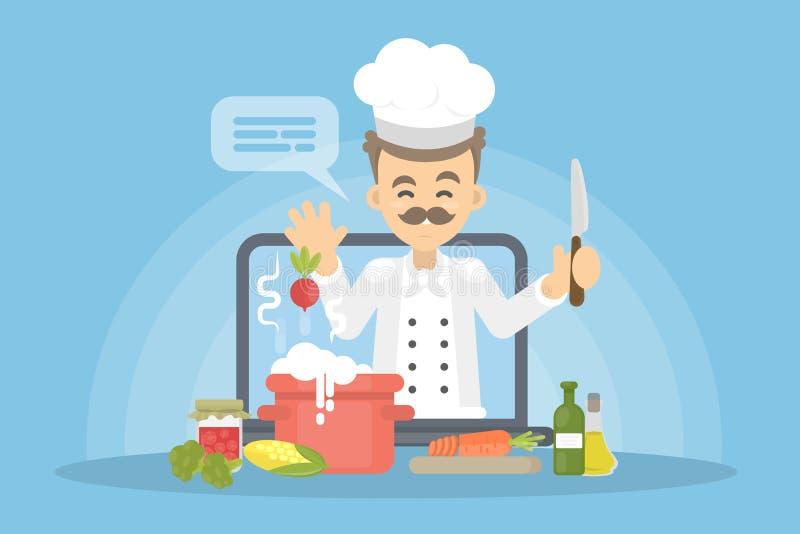 Concepto en línea del cocinero libre illustration