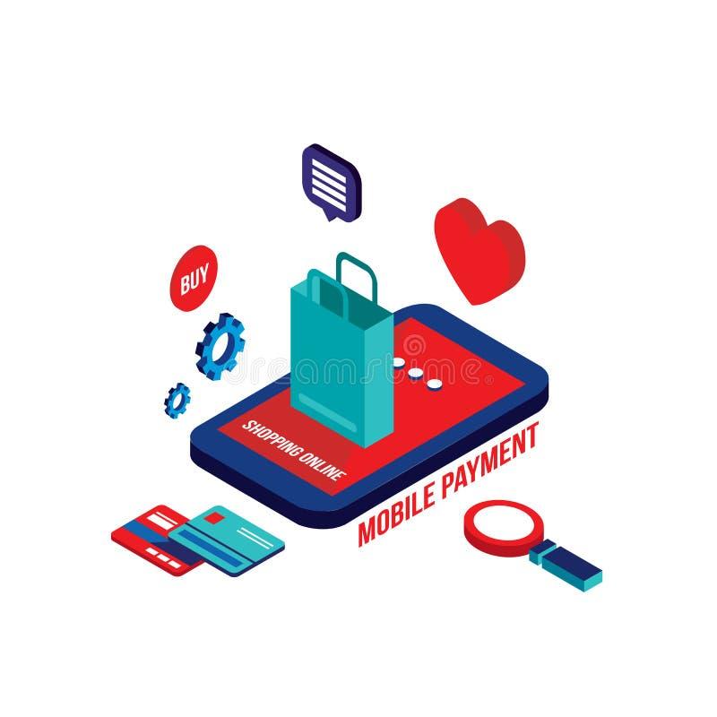 Concepto en línea del comercio electrónico del pago móvil isométrico plano del diseño que hace compras 3d stock de ilustración