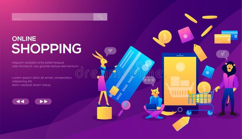 Concepto en línea del comercio electrónico del teléfono que hace compras elegante ilustración del vector