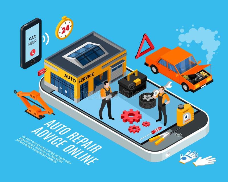 Concepto en línea del consejo de la reparación auto stock de ilustración