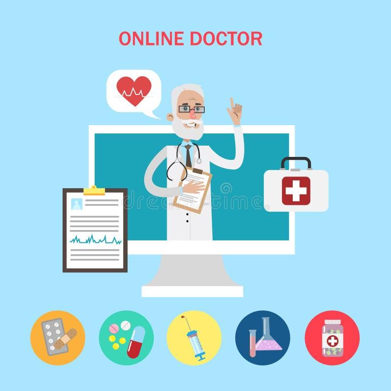 Concepto en línea del doctor libre illustration