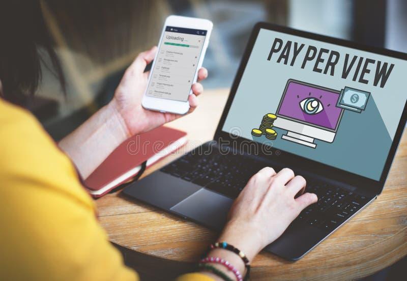Concepto en línea del márketing del pago por visión imágenes de archivo libres de regalías