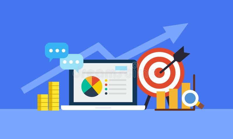 Concepto en línea del márketing Estrategia e informe de las compras en línea o de la campaña en línea ilustración del vector