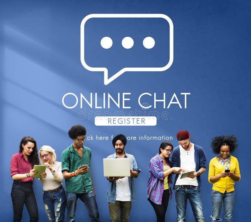 Concepto en línea del mensaje de la conversación de la comunicación de la charla imagenes de archivo