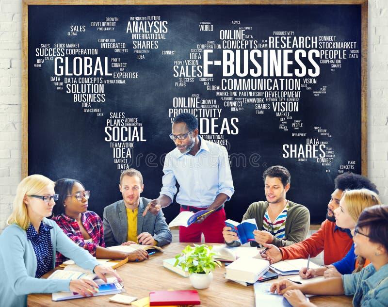 Concepto en línea del mundo del comercio del negocio global del comercio electrónico fotos de archivo
